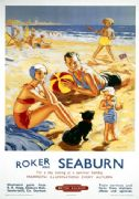 Vintage Travel Poster 'Roker and Seaburn', British Railways poster, 1953.